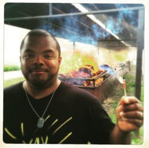 Roger on set Man Fire Food